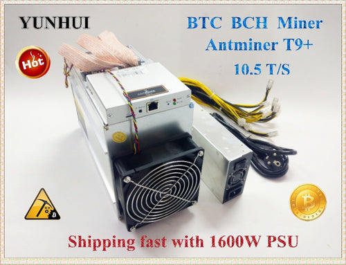 Used AntMiner T9+ 10.5T Bitcoin Miner (with power supply) Asic Miner Newest 16nm Btc BCH Miner Bitcoin Mining Machine YUNHUI