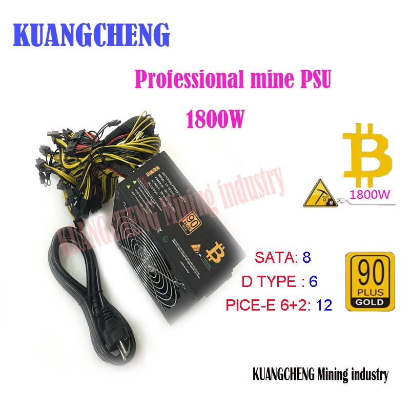 ETH miners power supply 1600W 12V 125A output. Including 20PCES 4Pin 4+4pin 6+2Pin 24Pin SATA connectors - Mining Bonanza