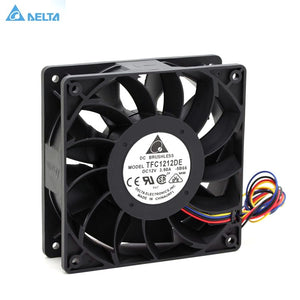 TFC1212DE Delta 120mm DC 12V 5200RPM 252CFM For Bitcoin Miner Powerful Server Case AXIAL cooling Fan - Mining Bonanza
