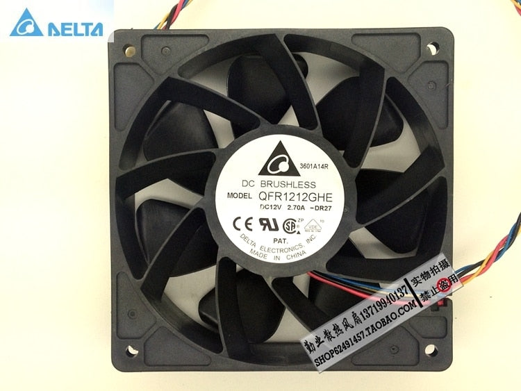 Delta QFR1212GHE 12V 2.70A 12038 12CM Bitcoin Miner FAN 12cm PWM Most Powerful for Bitcoin Mining - Mining Bonanza