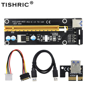 New Black 60cm 1x to 16x USB 3.0 PCI-E extender PCI Express Riser Card SATA to 4Pin IDE Molex Power Supply for BTC Miner Machine - Mining Bonanza