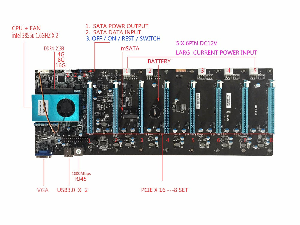 KUANGCHENG BTC IC6S Mining Motherboard 8 Graphics Cards Slots PCI Express 8 to 16x  for ETH miner ETC ZEC  MINER MOTHERBOARD - Mining Bonanza