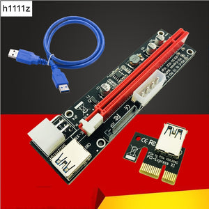 Riser Card PCI-E 1x to 16x Riser Card USB 3.0 Cable 3in1 SATA 4Pin 6Pin Power Supply for Antminer Bitcoin Miner Mining Machine - Mining Bonanza