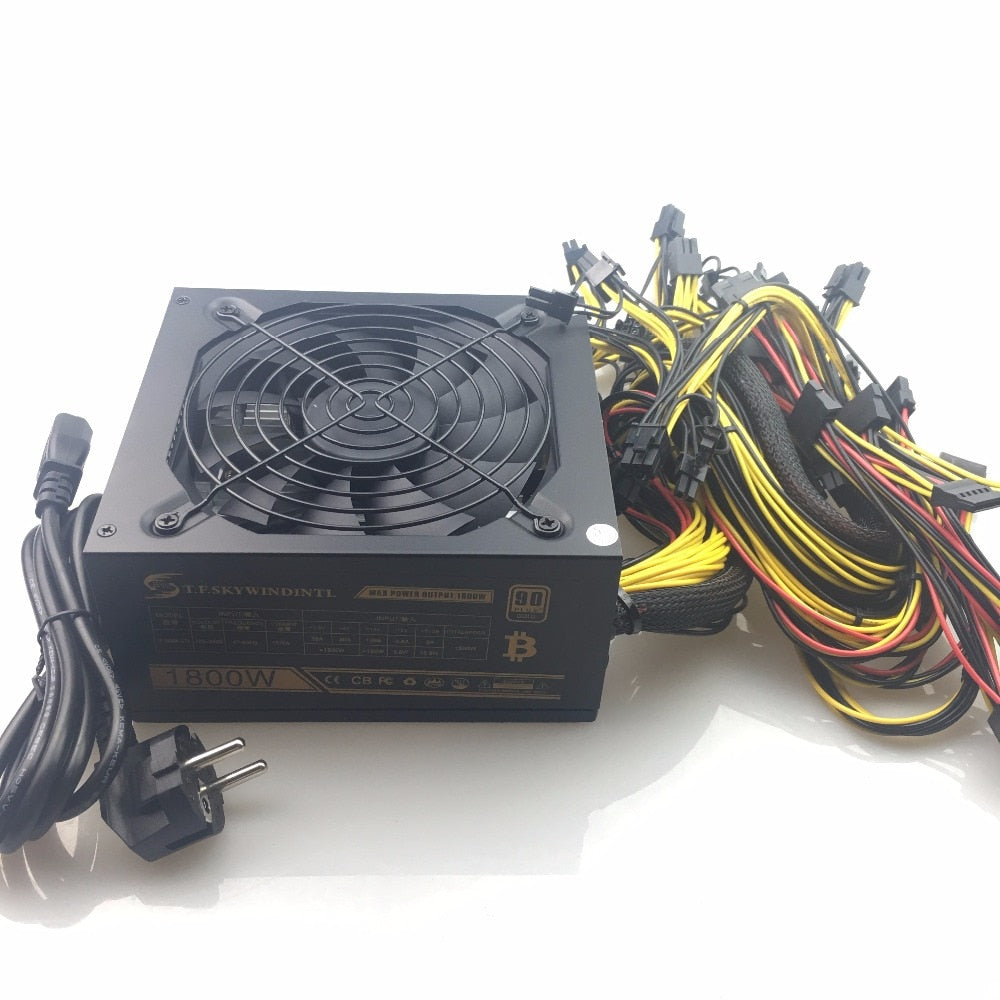 free ship Computer Mining Power 1800W psu PC Power Supply support 8 card for Miner High quality Power supply For BTC ETC ZEC - Mining Bonanza