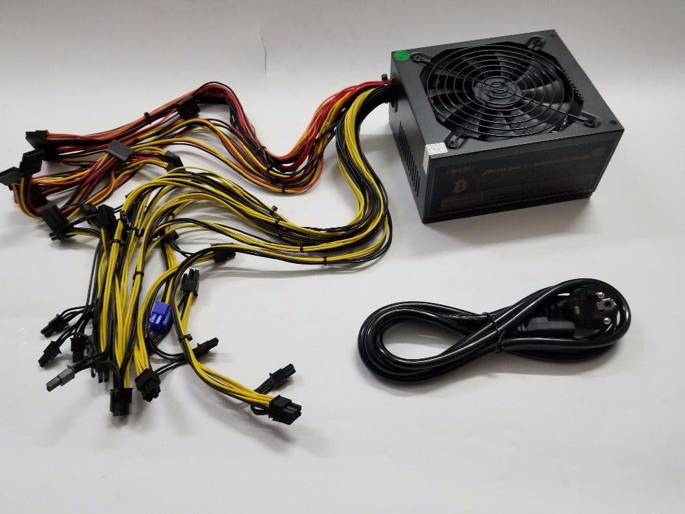 ETH miners power supply 1600W 12V 125A output. Including 26 PCES 4Pin 4+4pin 6+2Pin  24Pin SATA connectors FROM  YUNHUI - Mining Bonanza