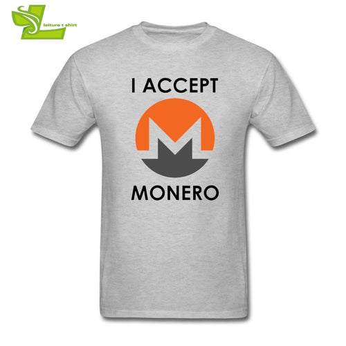 T Shirts I Accept Monero Cryptocurrency Pink T-Shirt Men Round Collar Short Sleeve Tees Hot Sale Adult 100% Cotton - Mining Bonanza