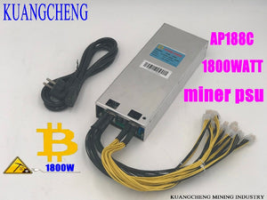 KUANGCHENG ASIC miner BTC LTC miner power AP188c1800W 12V powr supply 6pin High conversion for AntminerS9 D3 A3 V9 etc.Spot!!! - Mining Bonanza