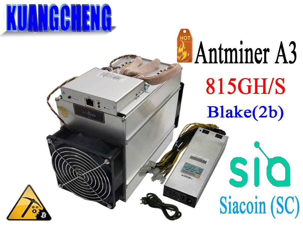 KUANGCHENG sale the Blake(2b) Siacoin ASIC Miner Antminer A3 815GH/s (1275W on wall) with PSU high profit from Bitmain - Mining Bonanza