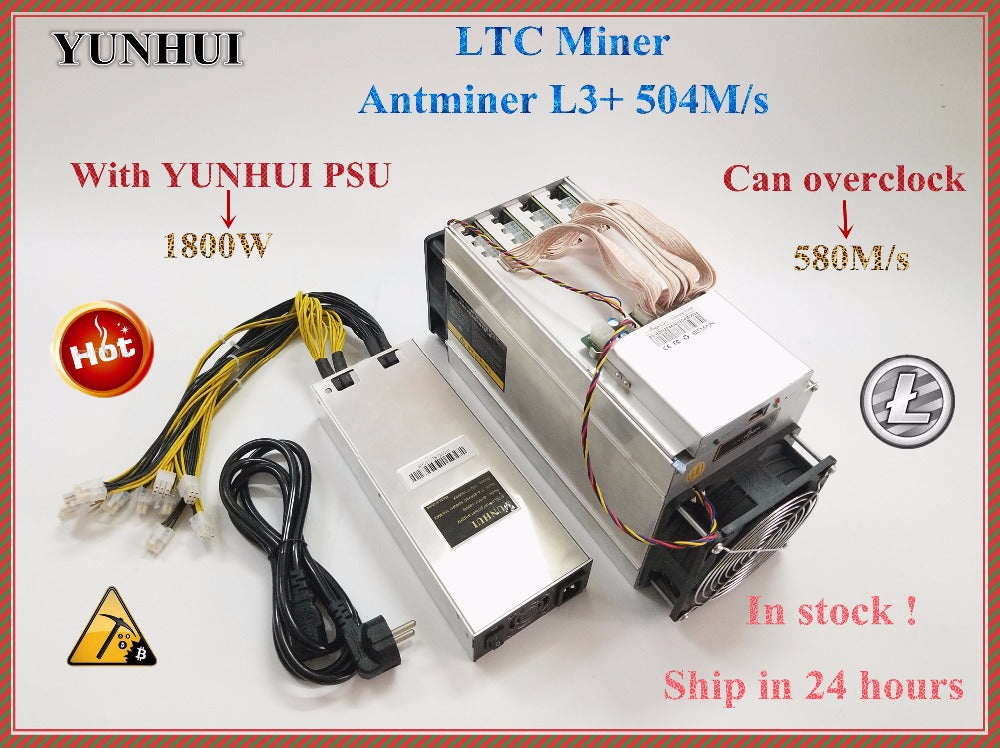 YUNHUI  ANTMINER L3+ LTC 504M (with psu) scrypt miner LTC Mining Machine 504M 800W on wall Better Than ANTMINER L3.YUNHUI - Mining Bonanza
