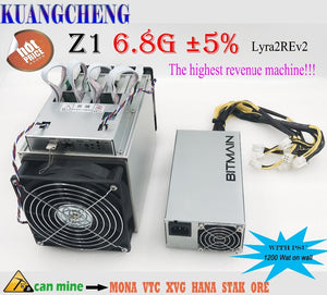 KUANGCHENG Lyra2REv2 ASIC miner Zig Z1 6.8G With bitmain APW3++ Power supply earnings higher than Antminer Z9 mini,WhatsMiner M3 - Mining Bonanza