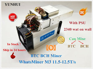 New BTC BCH Miner WhatsMiner M3X 12.5T/s (MAX 13T) Asic Bitcoin Miner With PSU Economic Than Antminer S9 S9i A9 M3 M10 in Stock - Mining Bonanza