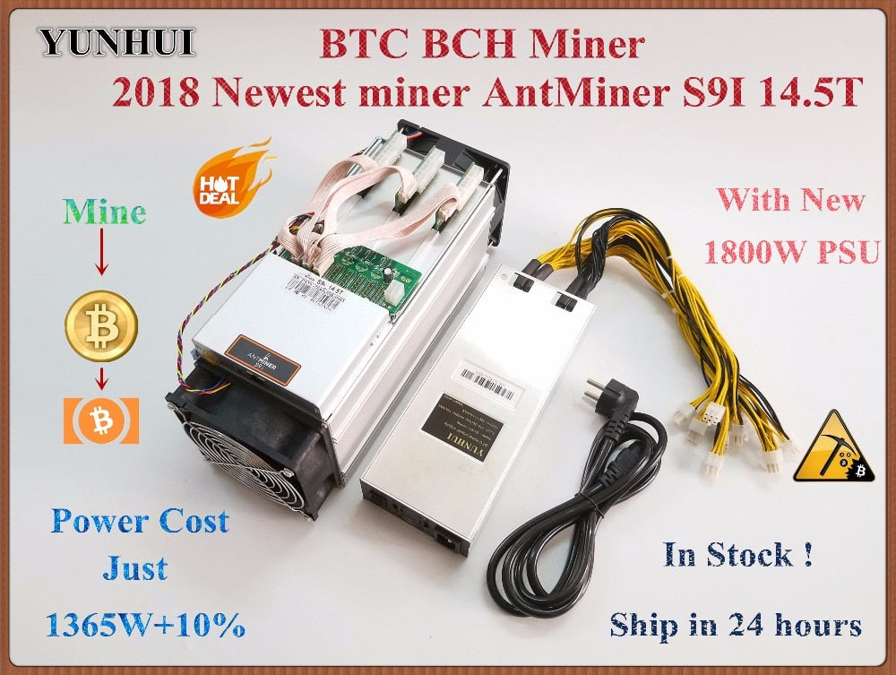 YUNHUI Newest AntMiner S9i 14.5T Bitcoin Miner With 1800W PSU Asic Miner SHA-256 Btc BCH Miner Better Than Antminer S9 13.5T 14T - Mining Bonanza