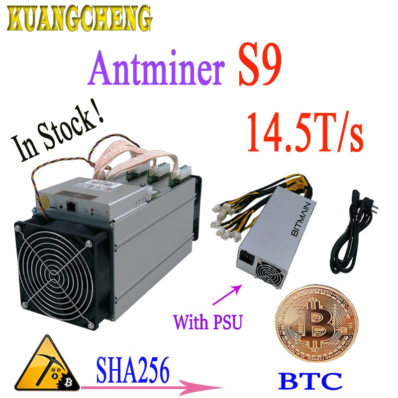 Antminer S9 14.5T ASIC Bitcoin miner mining BTC BCH miner Better Than Antminer S9 S9i 13T 13.5T  T9+ V9 WhatsMiner M3 With PSU - Mining Bonanza