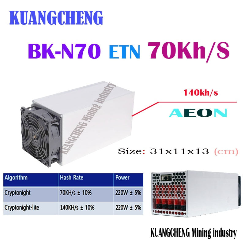 kuangcheng asic Miner Baikal Giant N70 Dual ETN aeon miner a70KH/S/140KH/S(no PSU)Low power noise antminer Z9 mini A9 cdr D18 - Mining Bonanza