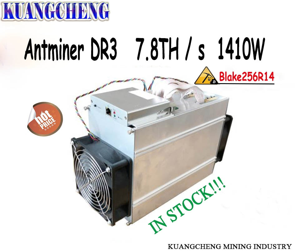 Newest Bitmain AntMiner DR3 Blake25614R ASIC Miner 7.8TH/S DCR Miner higher yield than Innosilicon D9 and FFminer - Mining Bonanza