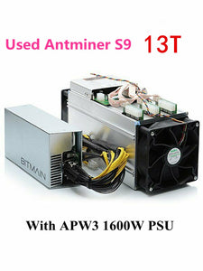 Used BITMIAN S9 13TH/S With APW3 1600W Asic Bitcoin BTC Miner AntMiner S9 16nm Btc Miner Economic Than WhatsMiner M3 M3X