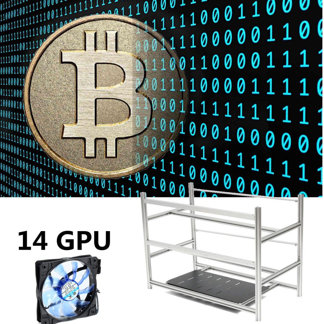 Stackable Open Air Mining Rig Frame Miner Case + 10 LED Fans For 14 GPU ETC BTH New Computer Mining Case Frame Server Chassis - Mining Bonanza