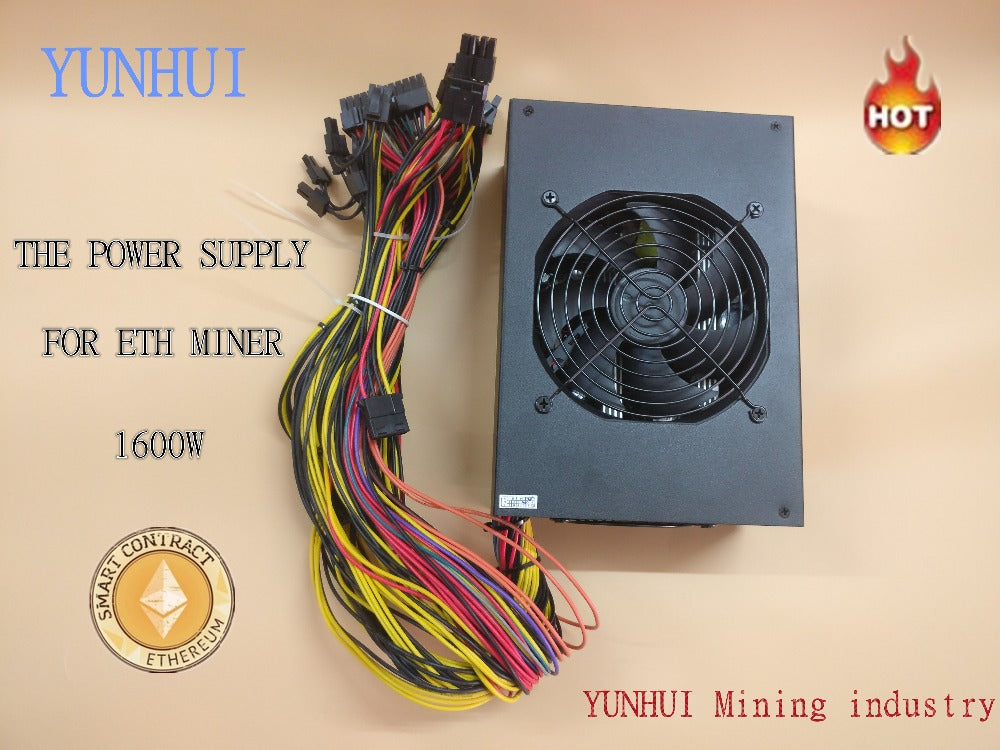 YUNHUI sell ETH miners power supply (with cable ), 1600W 12V 128A output. Including 24PCS SATA  4P 6+2P 8P 24P connectors - Mining Bonanza