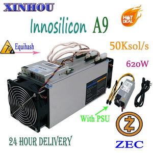Used Asic Miner Innosilicon A9 ZMaster 50k sol/s With 750w PSU Equihash Zcash ZEC ZCL BTG mining Better Than Antminer Z9 Z9 mini