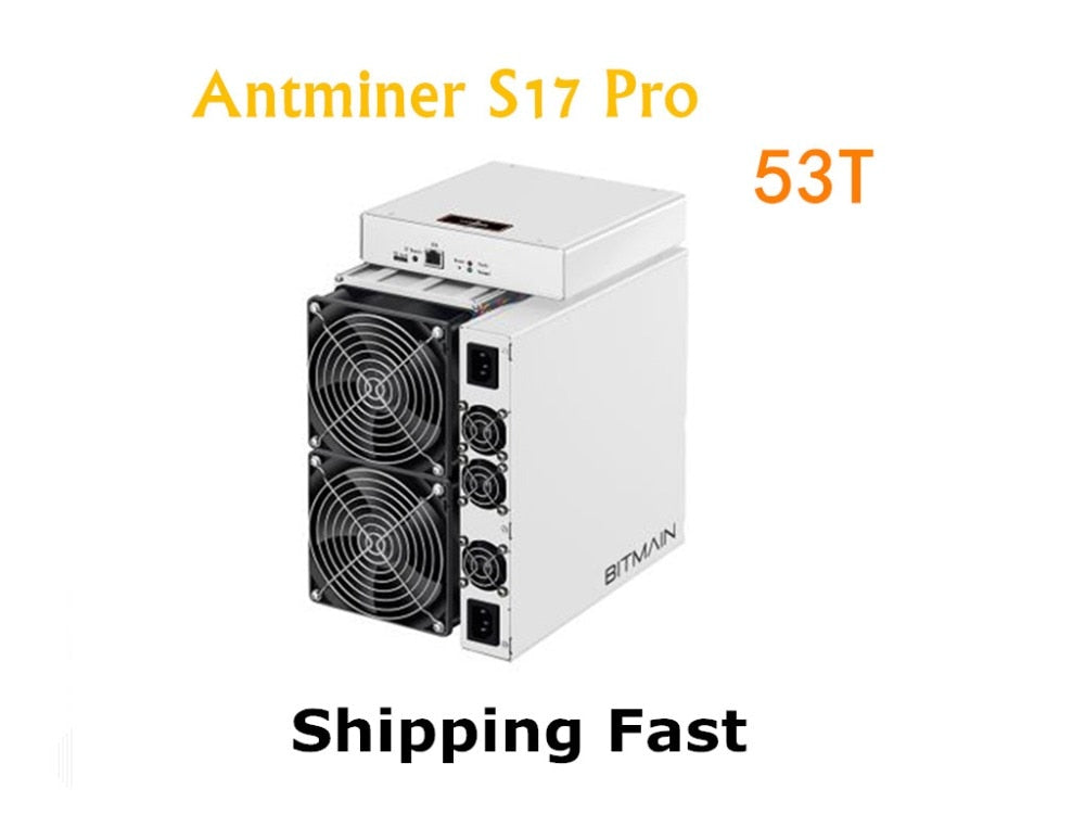 BITMAIN Newest Asic BTC BCH Miner AntMiner S17 Pro 53TH/S With PSU Better Than S9 S11 T15 S15 Z11 WhatsMiner M3 M10 M20S - Mining Bonanza