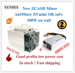 Ship in 24 hours Used Antminer Z9 Mini 10k Sol/s 300W With BITMAIN 1600W PSU Asic Equihash Miner Mine ZEN ZEC BTG good profit - Mining Bonanza
