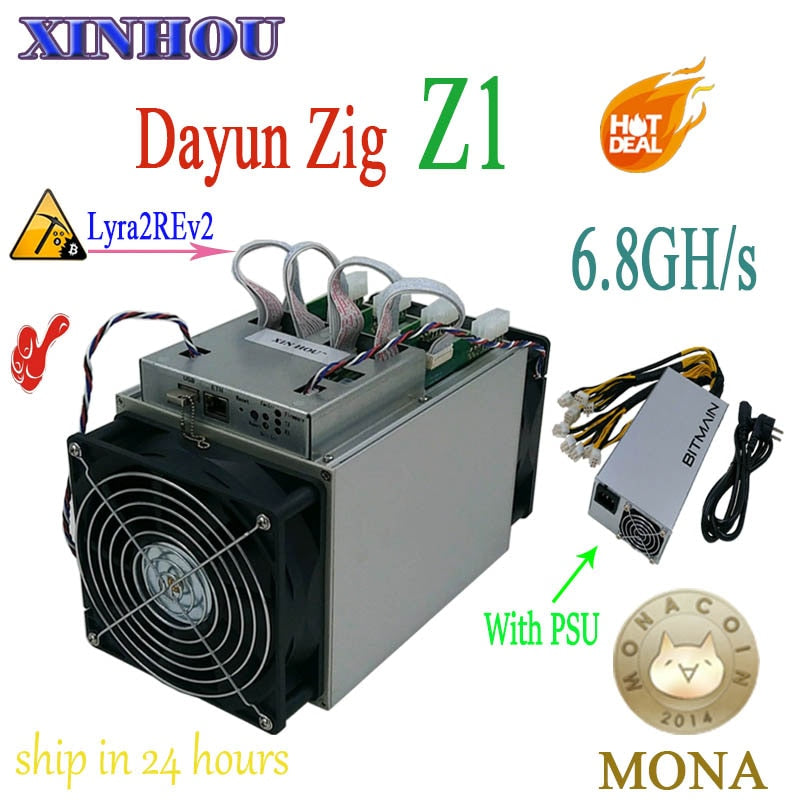 Used ASIC miner Dayun Zig Z1 Lyra2REv2 Mining MONA STAK XVG ABS 6.8GH/s with BITMAIN power Miner better than S9 L3 Z9 Z11 M3 S17
