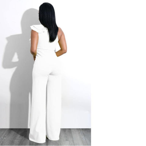 One Shoulder Ruffles Jumpsuits
