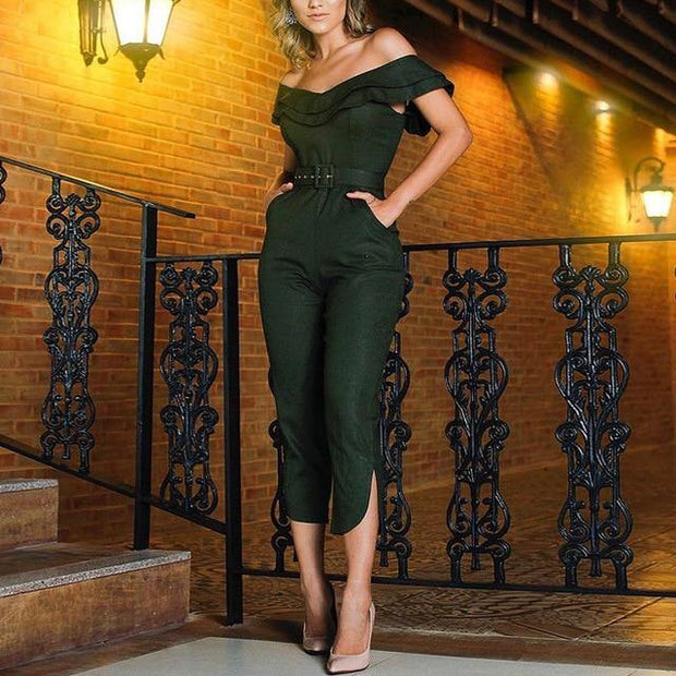 Women Ruffles Neck High Waist Jumpsuit