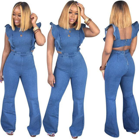 Sleeveless Jean Jumpsuits