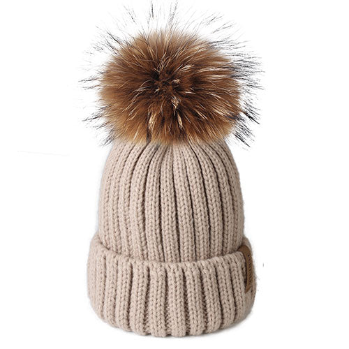 Real Fur Pom Pom winter Hat 100% - amazingfamilystore