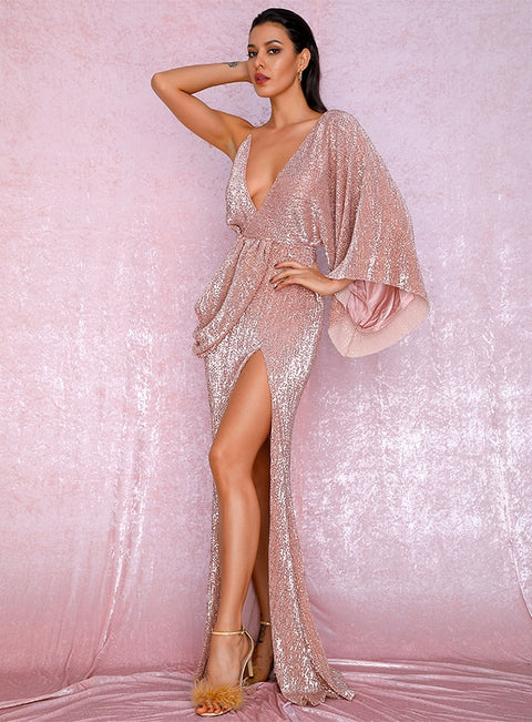 Amazing Family Store Sexy Rose Gold V-Neck Single Sleeve Sequins Split Party Maxi Dress