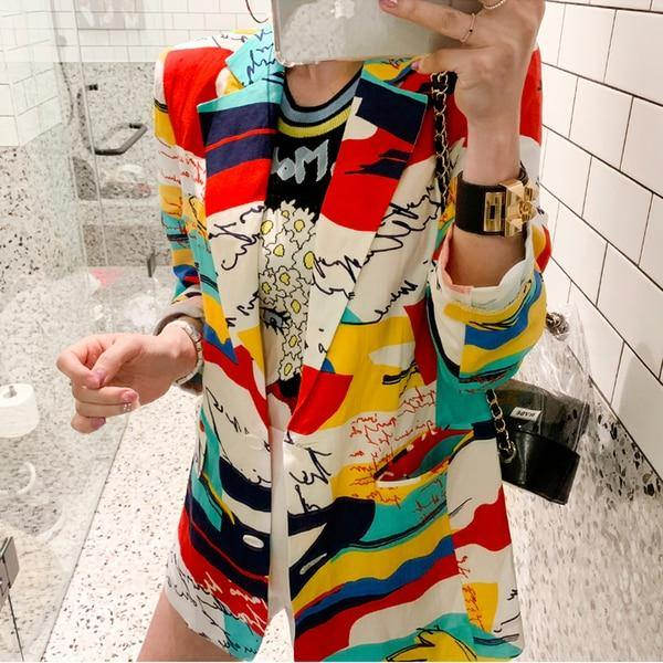 Women's Printed Colorful Blazer