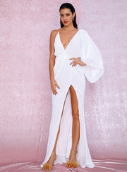 Amazing family store Sexy White V-Neck Single Sleeve Sequins Split Party Maxi Dress