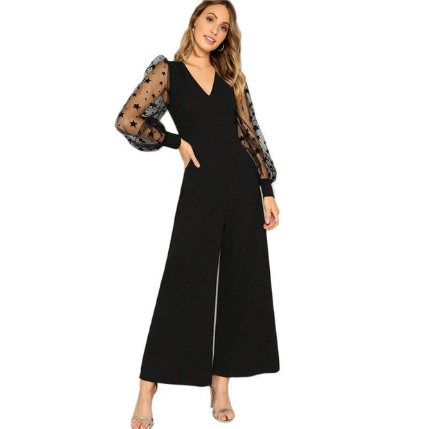 Women Amazing Sleeve Top And Wide Leg Pants Jumpsuits