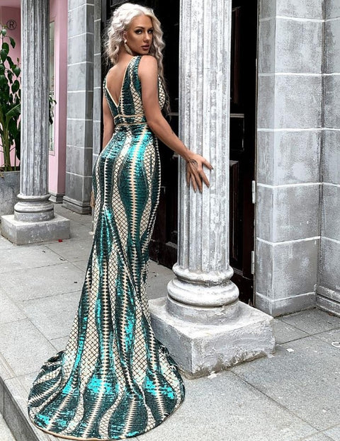 V Neck Backless Sequin Dress