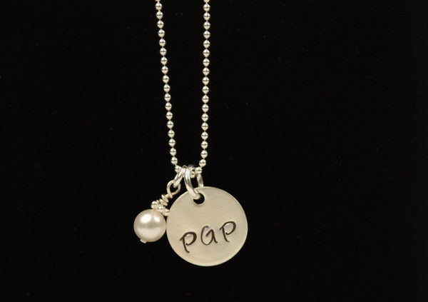 "Sterling Silver ""PGP"" charm necklace"