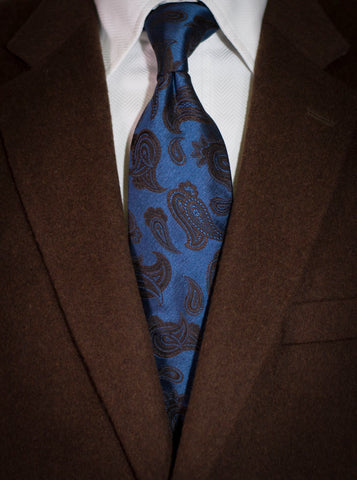 Nicolosi - Blue and Brown Woven Paisley Silk
