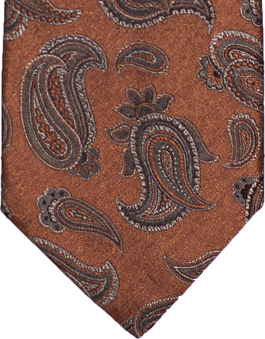 Nicolosi -Copper Rust with Taupe and Black Woven Paisley Silk Tie
