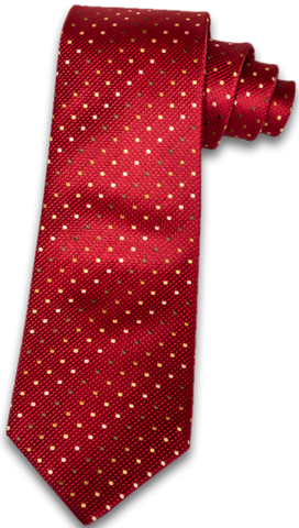 Adrano - Red woven silk with Gold Olive, and Bronze dots