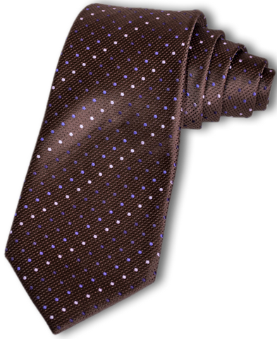 Adrano - Chocolate Brown Silk with Purple and Pink dots