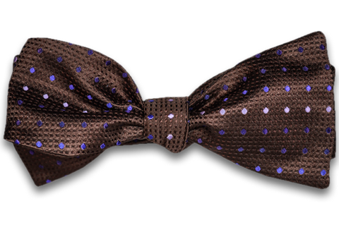 Adrano - Chocolate Brown Silk Bow Tie with Purple and Pink dots