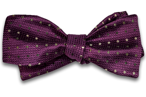 Adrano - Dark Plum Wine Silk with Bronze and Olive Neat Bow Tie