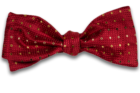 Adrano - Red Woven Silk Bow Tie with Gold Olive and Bronze dots