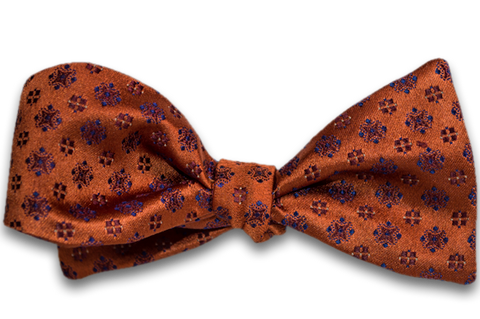 Augusta - Copper Orange Satin Silk Bow Tie with neat pattern star-burst