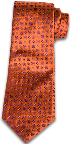 Augusta - Copper Satin Silk with neat pattern star-burst design