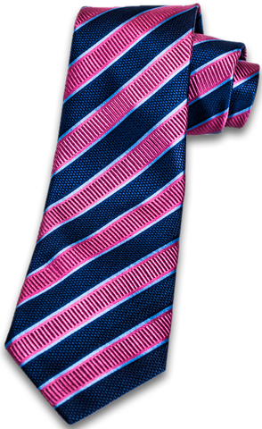 Belpasso - Navy Blue and Pink Mogador Silk Stripe