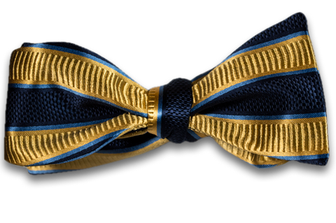 Belpasso - Navy Blue and Gold Striped Mogador Silk Self Tie Bow Tie