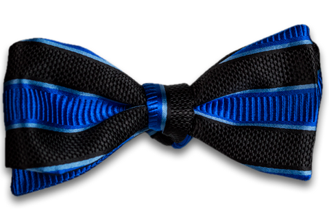 Belpasso - Black and Blue Striped Mogador Silk Self Tie Bow Tie
