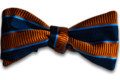 Belpasso - Navy Blue and Orange Striped Mogador Silk Self Tie Bow Tie