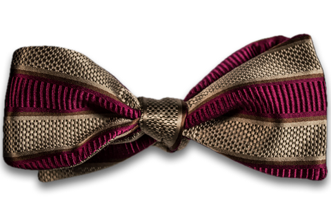 Belpasso - Wine and Khaki Striped Mogador Silk Self Tie Bow Tie